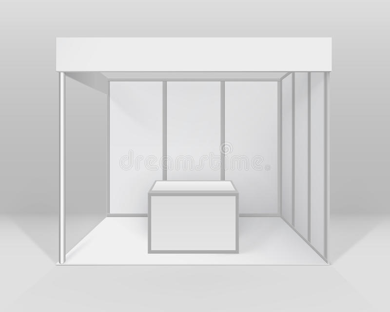 Ställning för inomhus för handel för vektorvitmellanrum standard bås för utställning för presentationen med räknaren på bakgrund stock illustrationer