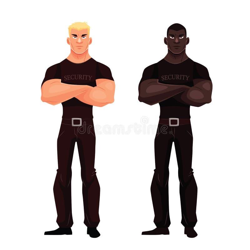 ställning för manlig afrikan- och europésäkerhet royaltyfri illustrationer