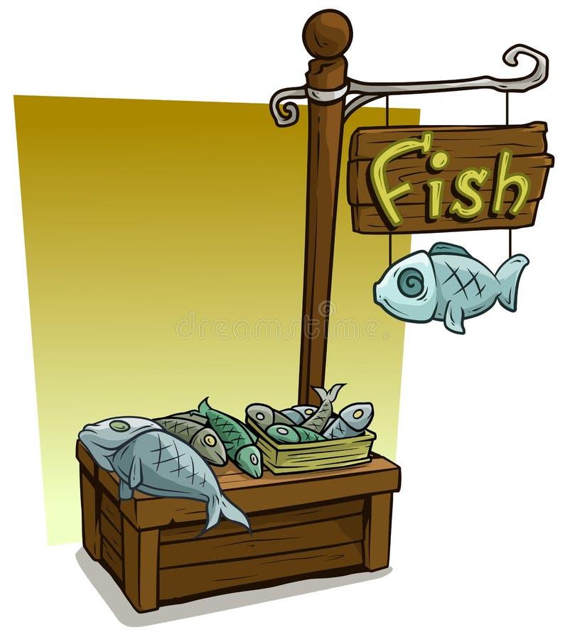 Ställning för marknad för bås för tecknad filmfiskförsäljare trä stock illustrationer