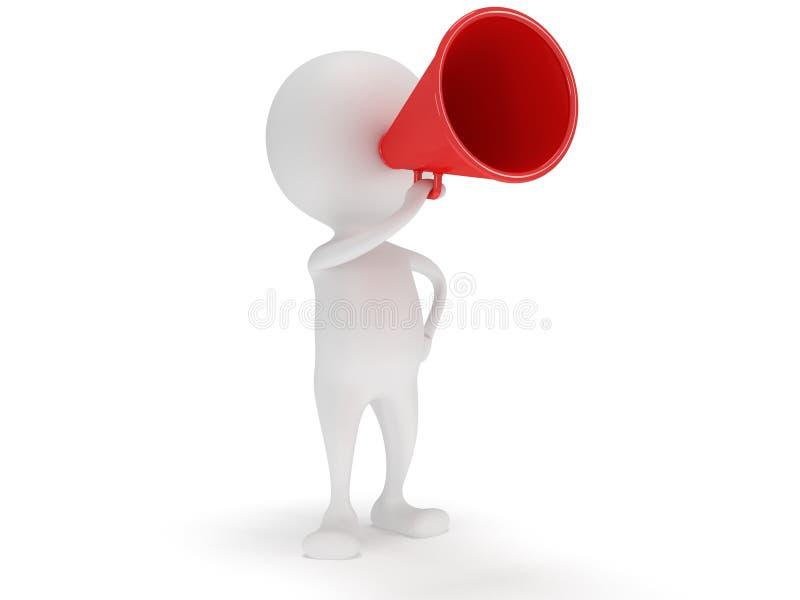 ställning för vit man 3d med den röda megafonen royaltyfri illustrationer