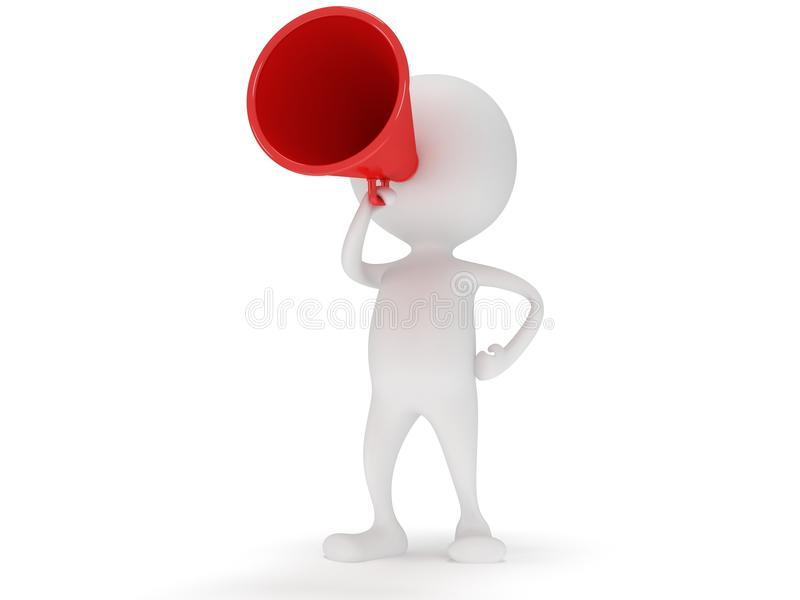 ställning för vit man 3d med den röda megafonen vektor illustrationer