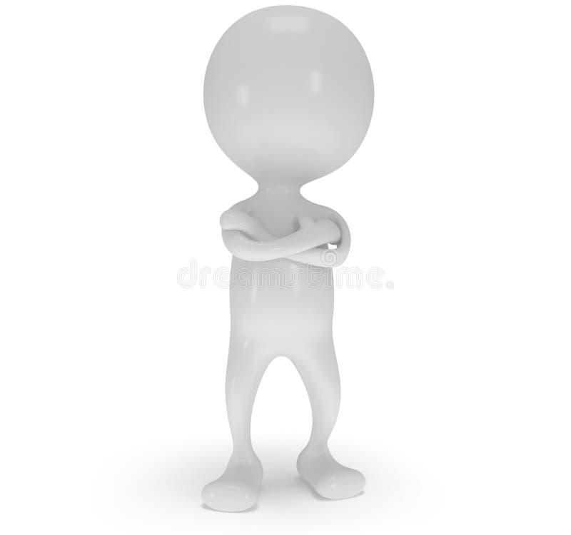 ställning för vit man 3d med vikta armar royaltyfri illustrationer