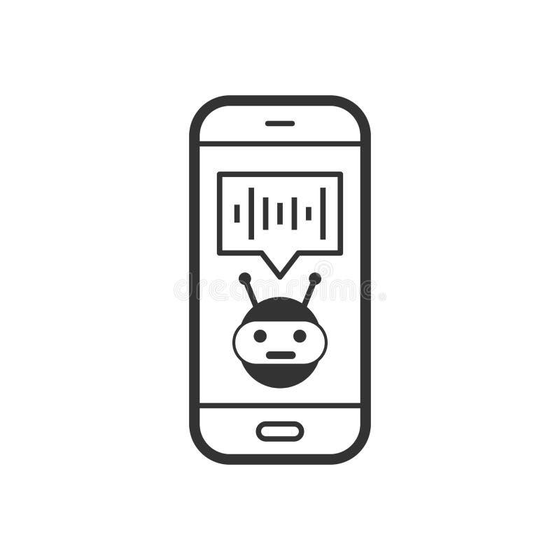 Stämmaassistent på smartphonesymbol i plan stil Solid rekord- vektorillustration på vit isolerad bakgrund Pratstunderkännande royaltyfri illustrationer
