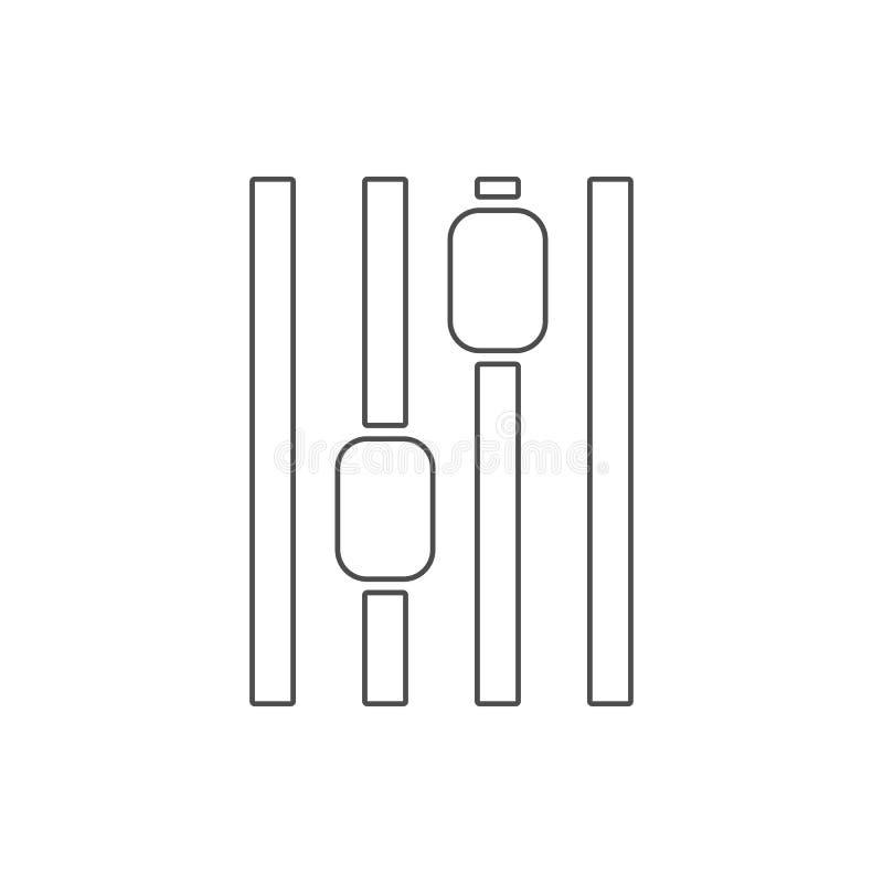 stämmainställningssymbol Beståndsdel av rengöringsduken för mobilt begrepp och rengöringsdukappssymbol Tunn linje symbol för webs royaltyfri illustrationer
