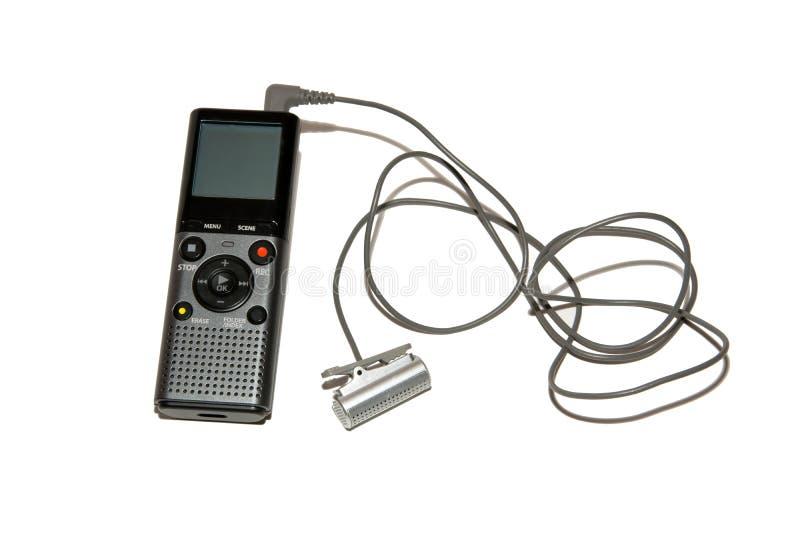 Stämmaregistreringsapparat med mikrofonen på tråden Tillbehör för journalisten Isolated på vit bakgrund royaltyfri foto