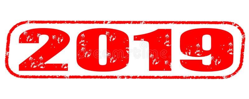 stämpel 2019 royaltyfri illustrationer