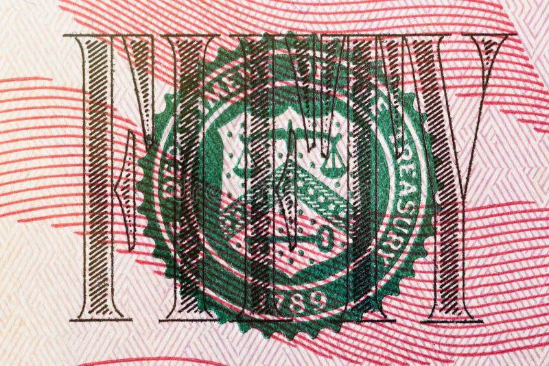 Stämpel av avdelningen av kassan på för dollarräkning för USA femtio makro för closeup royaltyfria foton