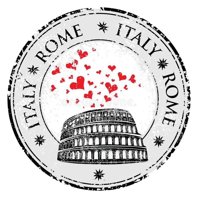 Stämpel Colosseum för Grungeförälskelsehjärta och ordet Rome, Italien inom, vektorloppillustration stock illustrationer