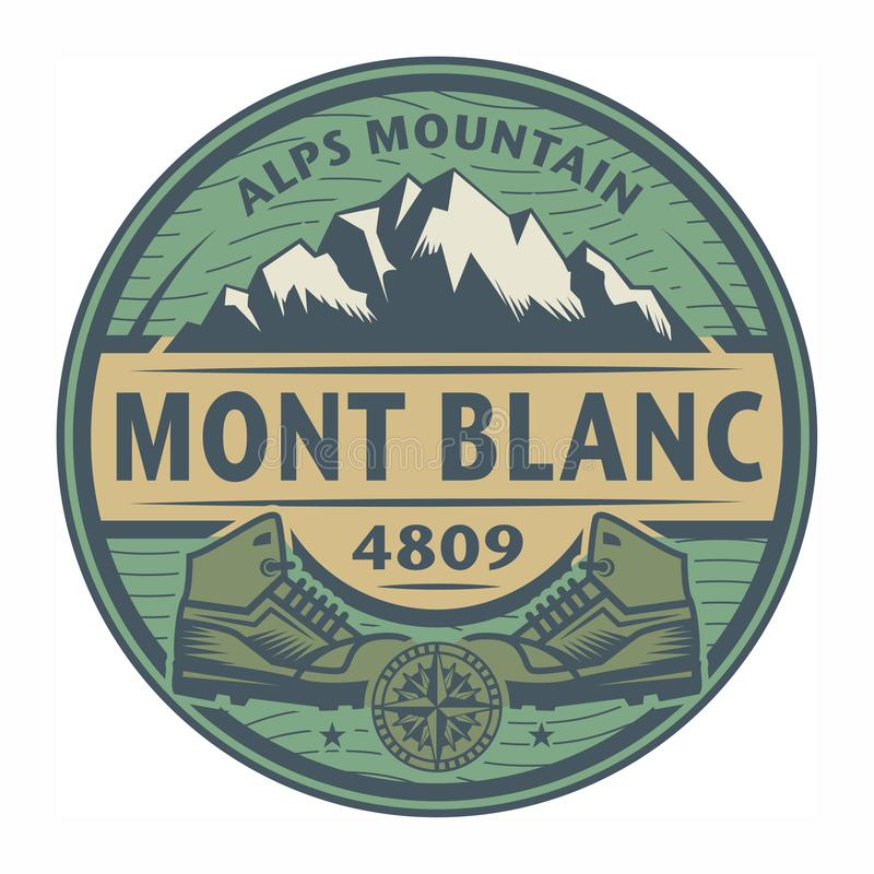 Stämpel eller emblem med text Mont Blanc, fjällängberg stock illustrationer