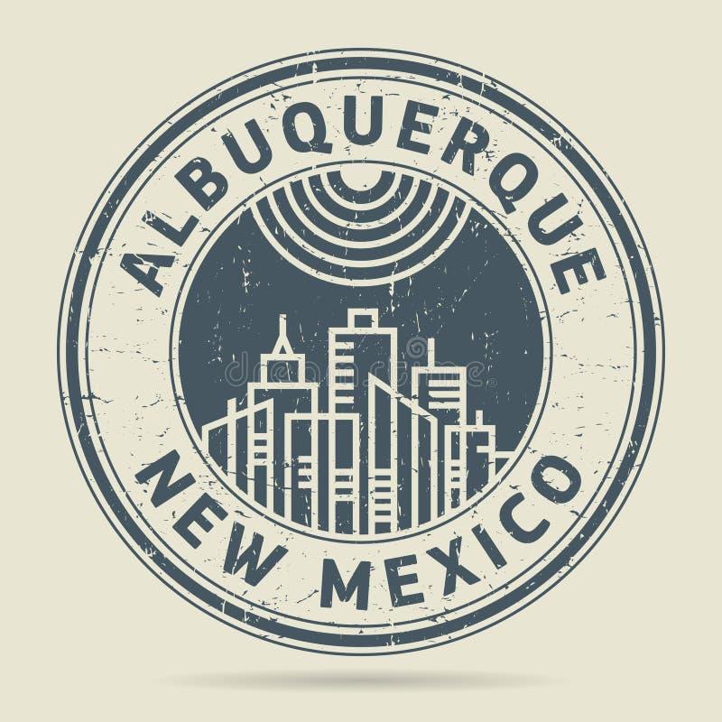 Stämpel eller etikett för Grunge rubber med text Albuquerque som är ny - Mexiko royaltyfri illustrationer