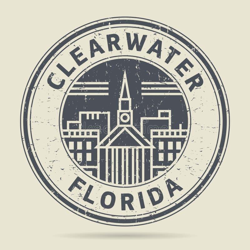 Stämpel eller etikett för Grunge rubber med text Clearwater, Florida royaltyfri illustrationer