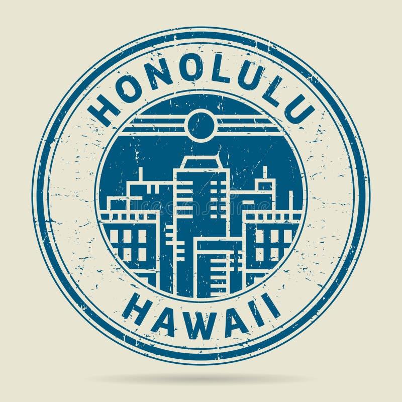 Stämpel eller etikett för Grunge rubber med text Honolulu, Hawaii royaltyfri illustrationer
