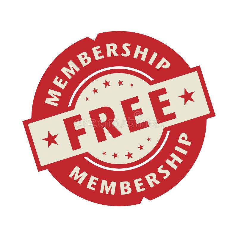 Stämpel eller etikett med det fria medlemskapet för text royaltyfri illustrationer