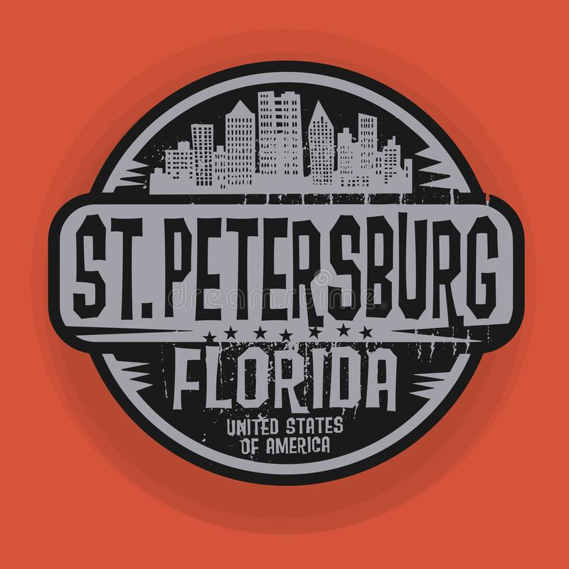 Stämpel eller etikett med namn av St Petersburg, Florida royaltyfri illustrationer