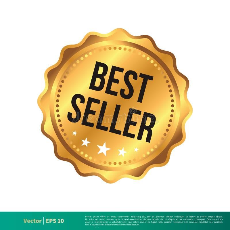 Stämpel för bästa säljare, mall för skyddsremsabanervektor royaltyfri illustrationer