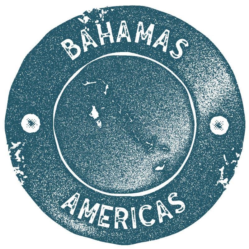 Stämpel för Bahamas översiktstappning royaltyfri illustrationer