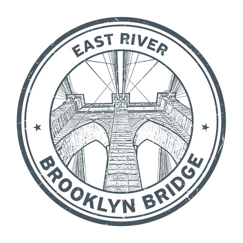 Stämpel för Brooklyn bro royaltyfri illustrationer