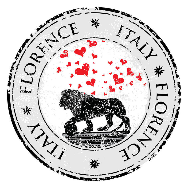 Stämpel för grunge för destination för förälskelsehjärtalopp med symbol av Florence, staty av ett lejon, Italien, vektorillustrat stock illustrationer