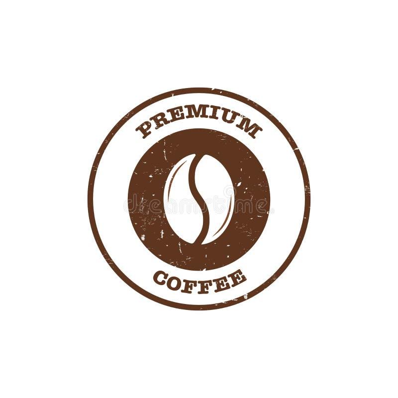 Stämpel för kaffeböna med högvärdigt kaffe för text vektor illustrationer