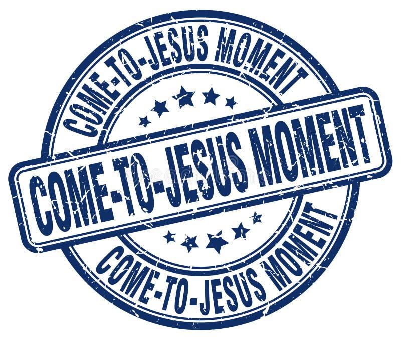 stämpel för komma-till-Jesus ögonblicksblått stock illustrationer