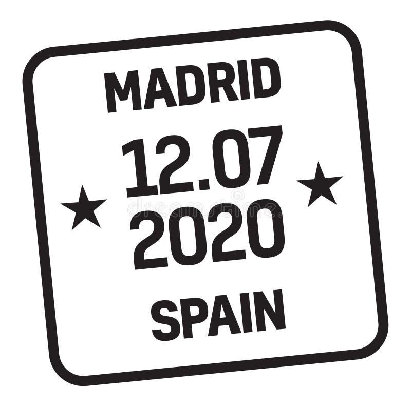 Stämpel för MADRID SPANIEN postleverans vektor illustrationer