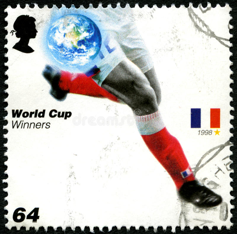 Stämpel för porto för UK för Frankrike världscupvinnare royaltyfria bilder