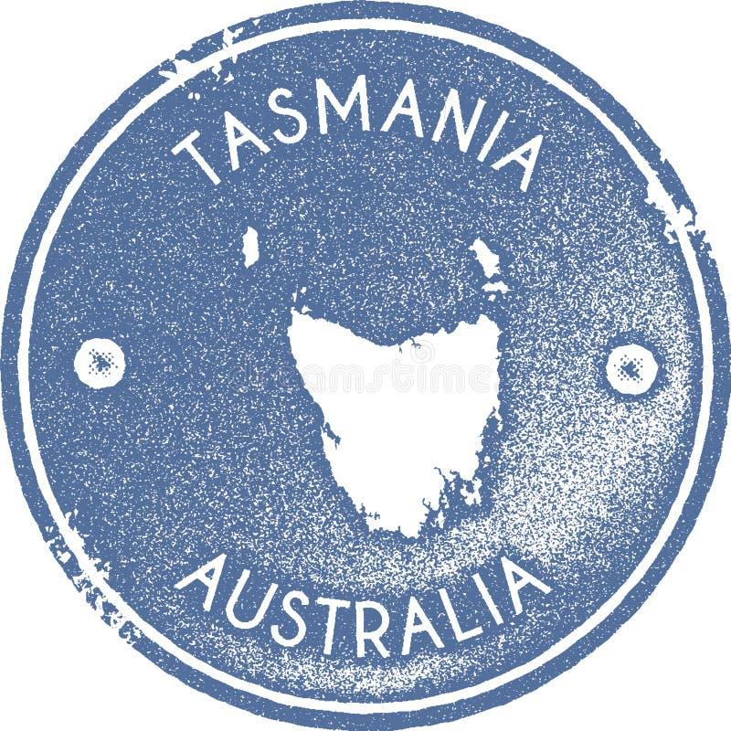 Stämpel för Tasmanien översiktstappning vektor illustrationer