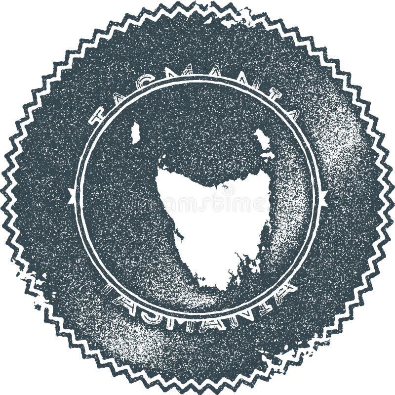 Stämpel för Tasmanien översiktstappning stock illustrationer