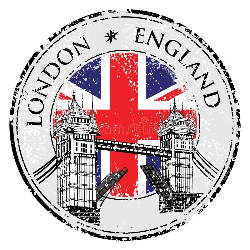 Stämpel för tornbrogrunge med flaggan, vektorillustration, London royaltyfri illustrationer