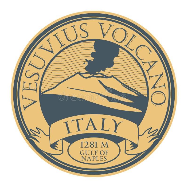 Stämpel med den ordVesuvius vulkan, Italien vektor illustrationer