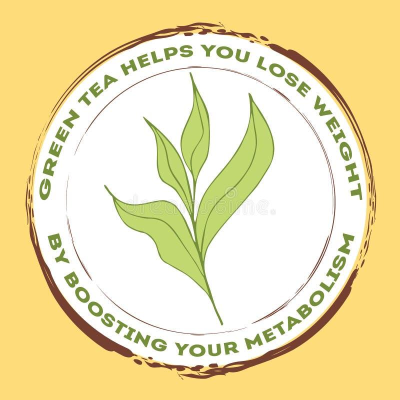 Stämpel med gröna teblad stock illustrationer