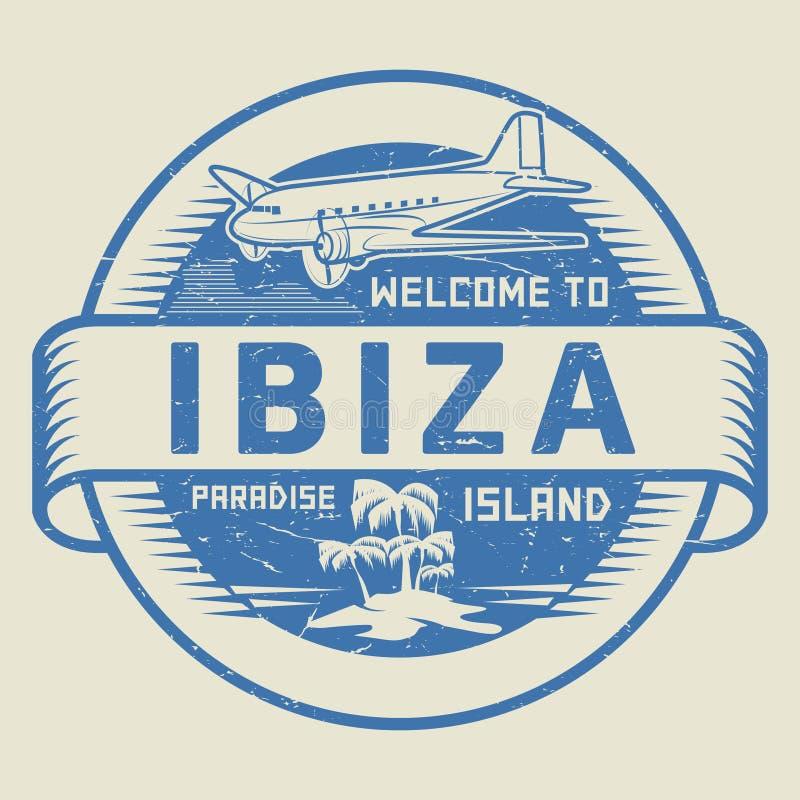 Stämpel med textvälkomnandet till Ibiza, paradisö vektor illustrationer