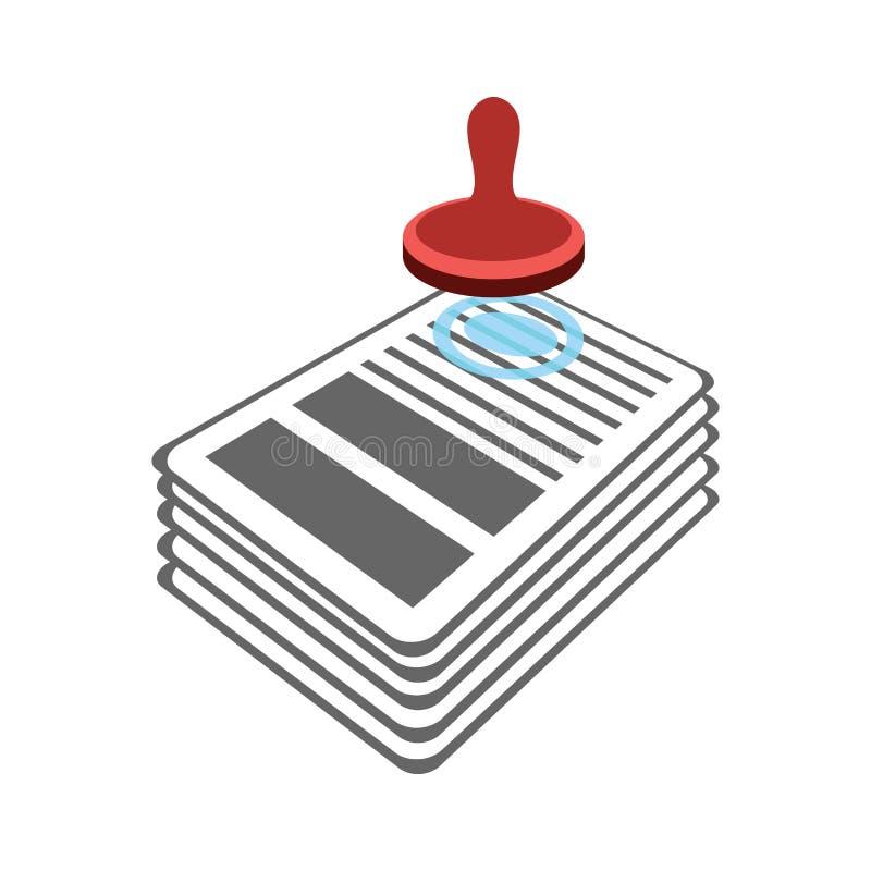 Stämpel på dokumentsymbol stansmaskinavtal Godkännande av representanten gör royaltyfri illustrationer