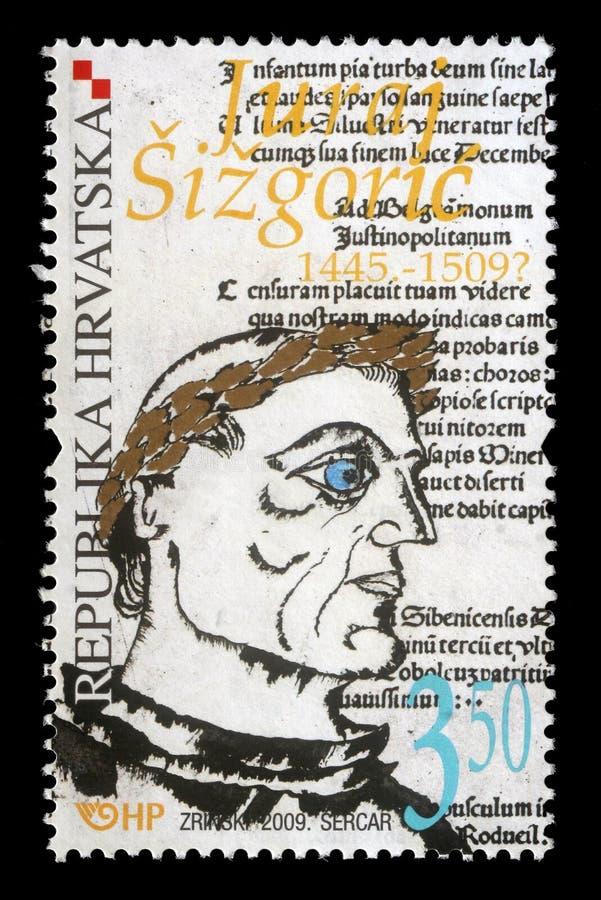 Stämpel som skrivs ut av Kroatienshower Juraj Sisgoric royaltyfri bild