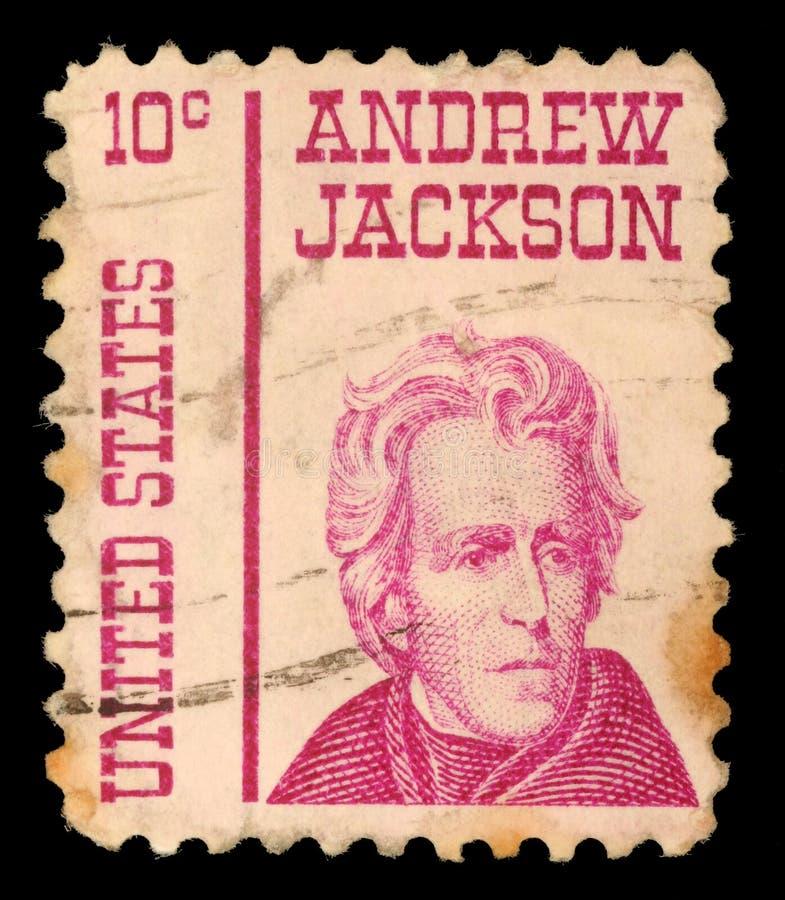Stämpel som skrivs ut i Amerikas förenta statershowerna Andrew Jackson fotografering för bildbyråer
