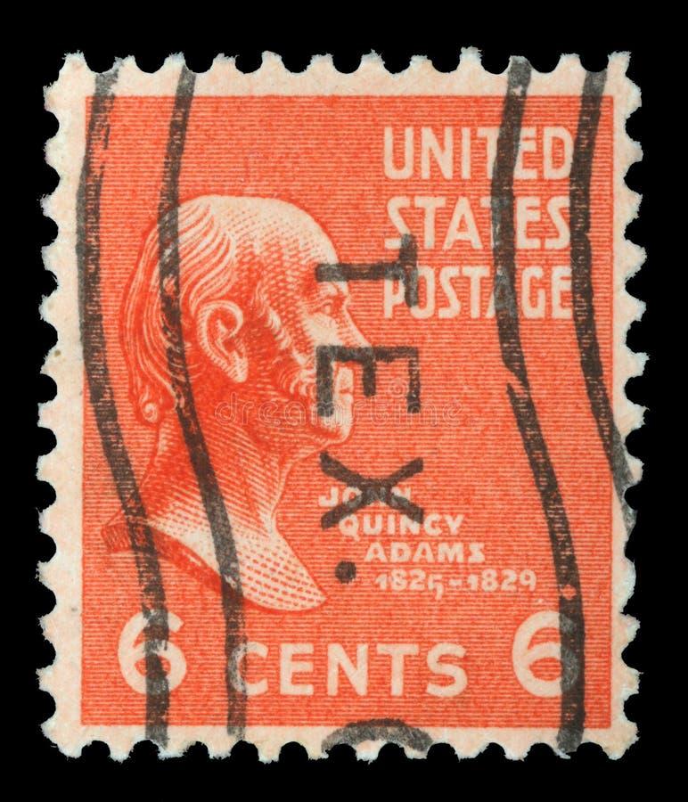Stämpel som skrivs ut i Amerikas förenta statershowerna John Quincy Adams royaltyfria foton