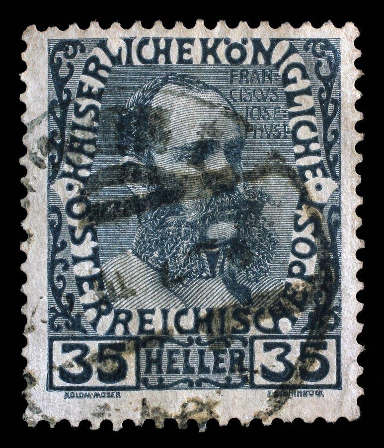 Stämpel som skrivs ut i de Österrike showerna Franz Josef i mellersta ålder, kejsare av Österrike royaltyfri foto