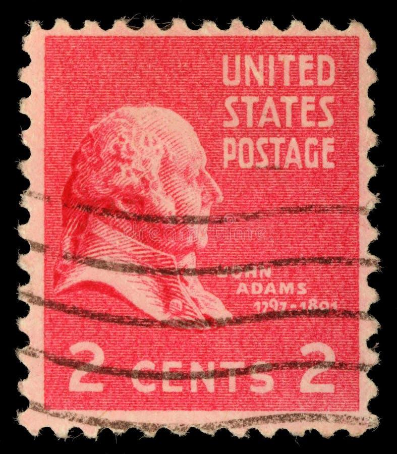 Stämpel som skrivs ut i USA, showpresident av Förenta staterna, John Adams arkivfoton