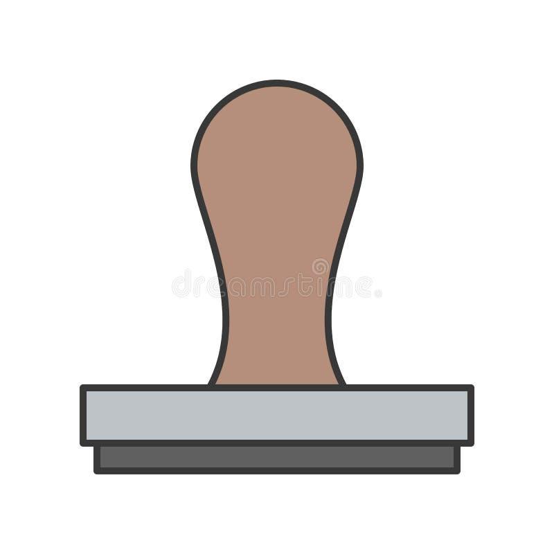Stämpeln godkännande- eller överenskommelsesymbol, fyllde redigerbar strok för översikten stock illustrationer