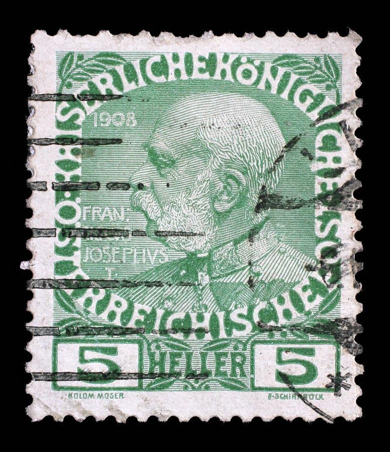Stämpeln skrivev ut i Österrike från den 60th årsdagen av regeringstiden av kejsaren Franz Josef I royaltyfri fotografi