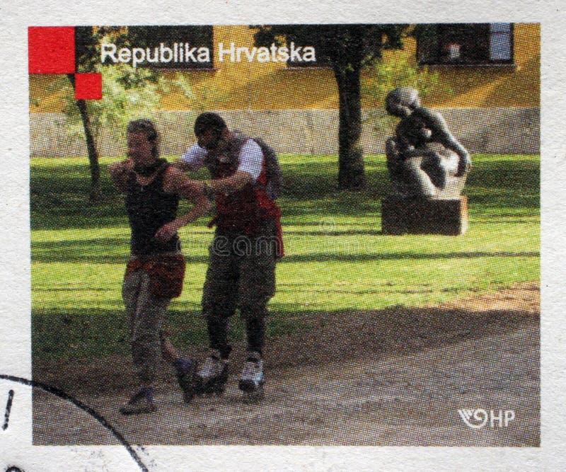 Stämpeln skrivev ut i Kroatien som var hängiven till årsdag 100 av akademin av konster fotografering för bildbyråer
