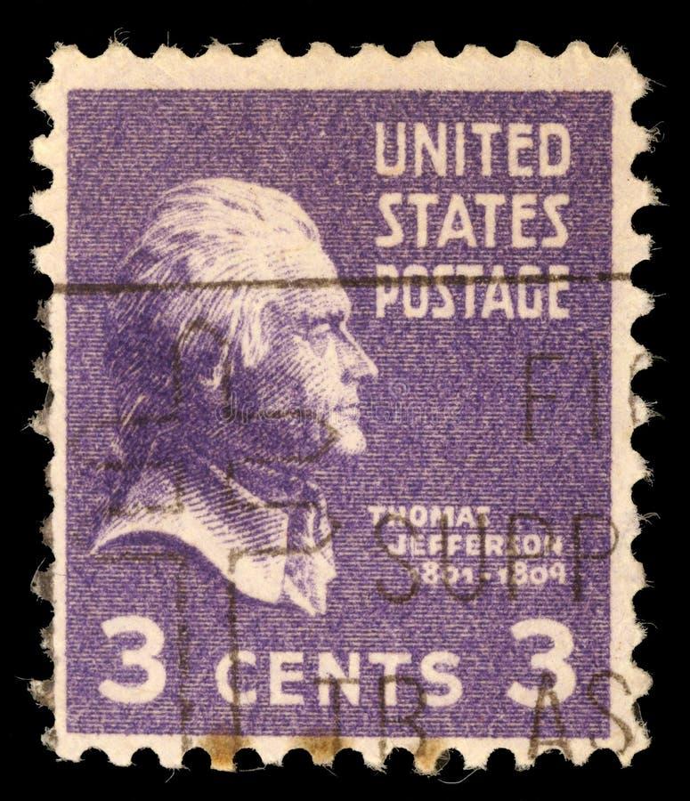 Stämpeln skrivev ut i USA, en 3. president för stående av Förenta staterna, Thomas Jefferson royaltyfria bilder