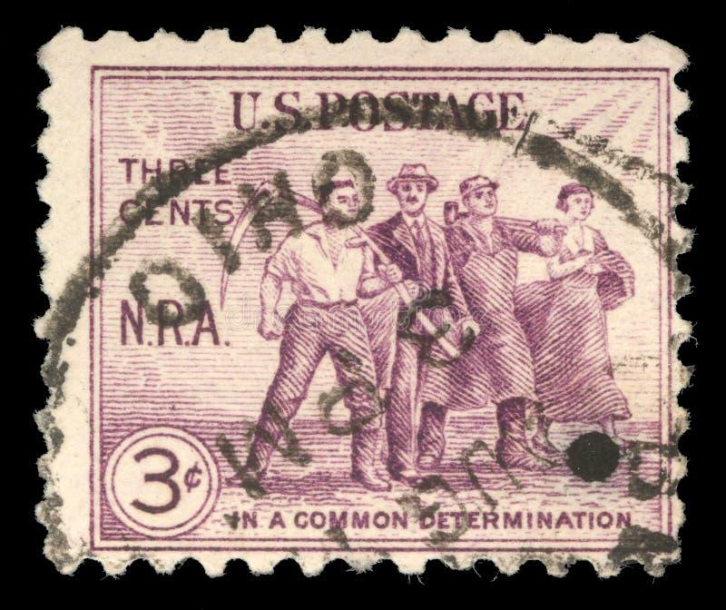 Stämpeln som skrivevs ut i Förenta staterna, ägnade nationell återställningshandling, jordbruk, konst, kommers och bransch arkivfoto