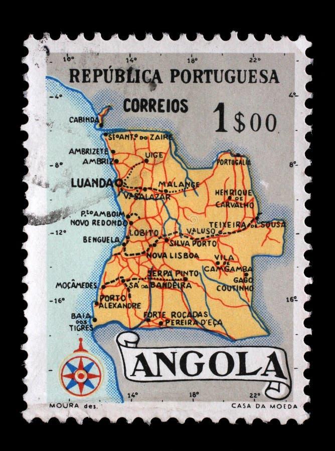 Stämpeln som skrivs ut i Angola, visar en översikt av Angola arkivbild