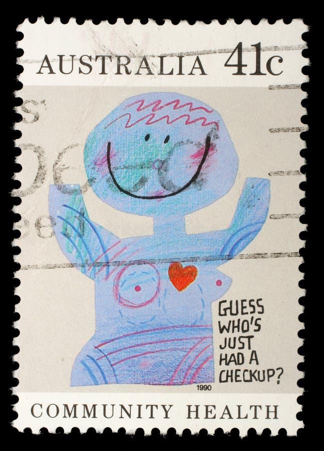 Stämpeln som skrivs ut i Australien, visar karikatyr`en ` för medicinska undersökningar, gemenskaphälsa royaltyfria bilder