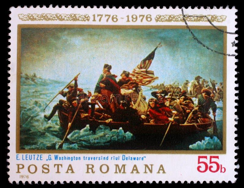 Stämpeln som skrivs ut i Rumänien, visar Washington Crossing Delaware arkivfoton