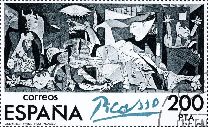 Stämpeln som skrivs ut i Spanien, visar målning av Pablo Picasso Guernica royaltyfri bild