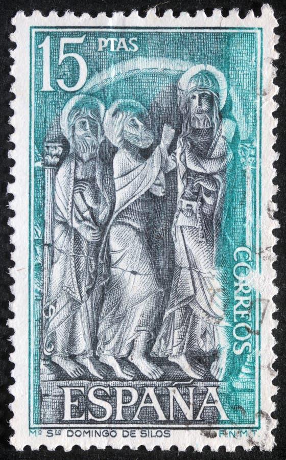Stämpeln som skrivs ut i Spanien, visar St Dominic av silor fotografering för bildbyråer
