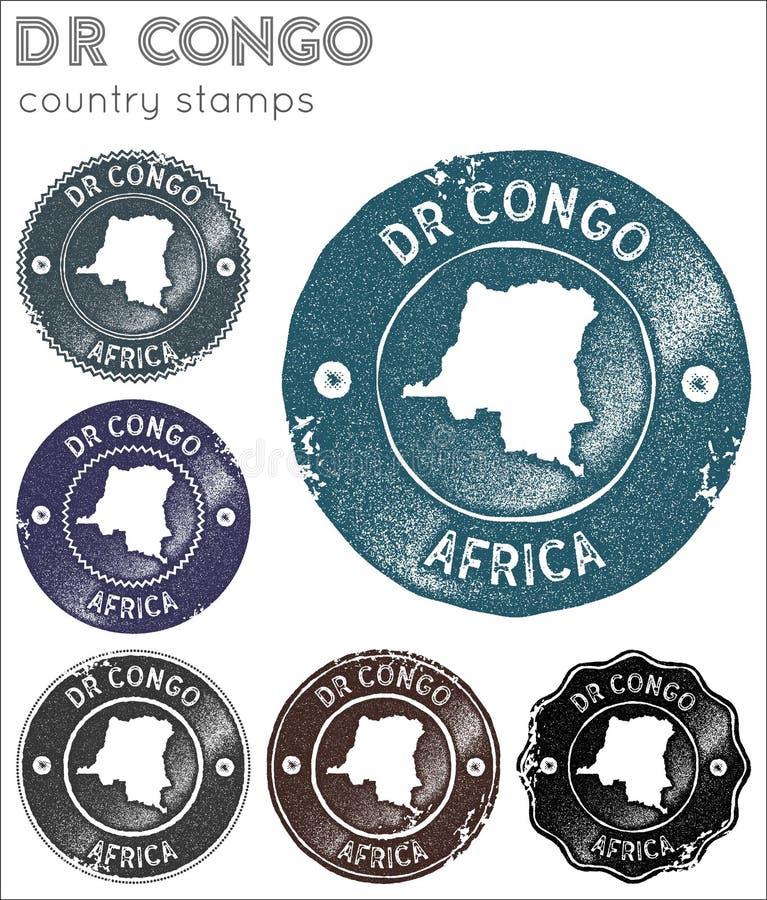 Stämpelsamling för DR Congo stock illustrationer