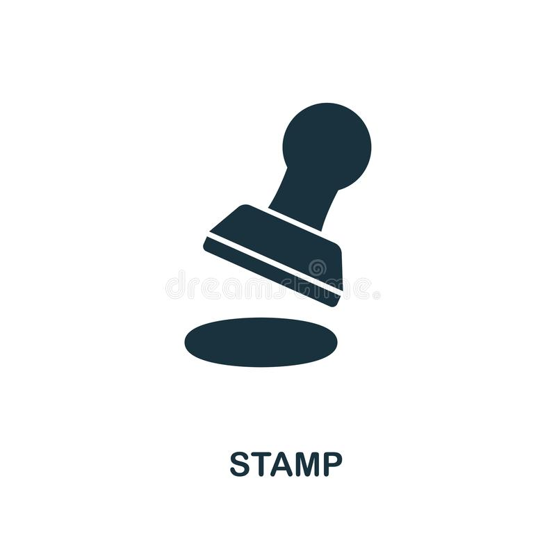 Stämpelsymbol Linje stilsymbolsdesign från symbolssamling för personlig finans Ui Pictogram av stämpelsymbolen Ordna till för att royaltyfri illustrationer